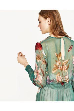 Mujer Midi - Zara Vestido fluido estampado floral