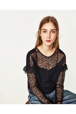 Mujer Camisas - Zara CUERPO ENCAJE VOLANTE HOMBROS