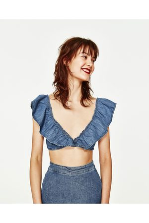Mujer Tops - Zara TOP CROPPED VOLANTES DENIM