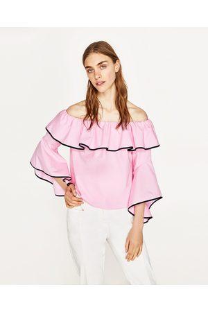 Mujer Camisas - Zara CUERPO POPELÍN MANGA VOLANTE - Disponible en más colores