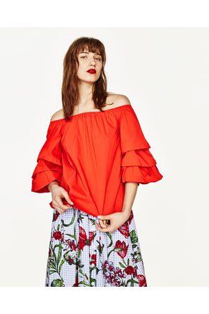 Mujer Blusas - Zara BLUSA HOMBROS AL AIRE Y VOLANTES