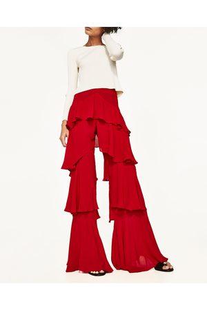 Mujer Pantalones y Leggings - Zara PANTALÓN VOLANTES - Disponible en más colores