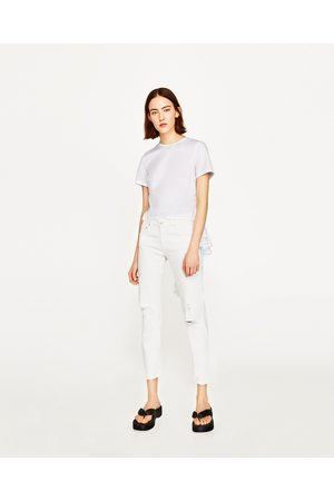 pantalones blancos vaqueros zara