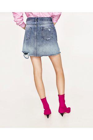 Mujer Minifaldas - Zara FALDA MINI DENIM PERLAS