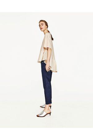 Mujer Zapatos - Zara MULE PIEL PLATEADO