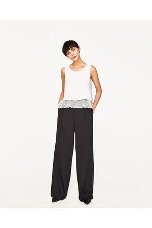 Zara TOP DOBLE CAPA ENCAJE BAJO - Disponible en más colores