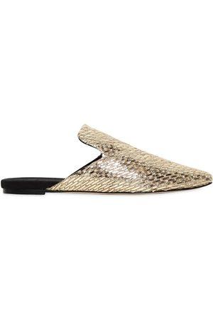 SANAYI313 Zapatos Mules De Lona Y Rafia Metálica 10mm