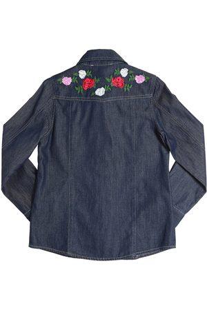 MISS BLUMARINE Camisa De Algodón Cambray Bordada