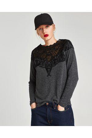 Zara JERSEY ENCAJE COMBINADO - Disponible en más colores