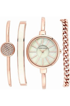 Box set reloj para dama Anne Klein White and Rose Gold AK1470RGST