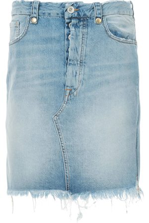 Unravel Project Mujer De mezclilla - Falda de mezclilla con bordes deshilachados