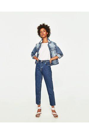 Zara Jeans mom fit tiro alto cinturón