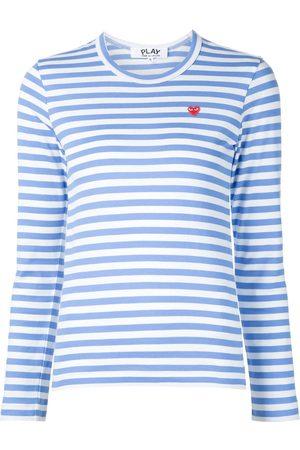 Comme des Garçons Mujer Playeras - Heart logo striped T-shirt