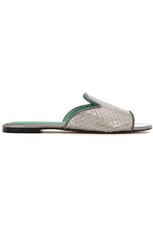 Blue Bird Shoes Patent leather woven mules