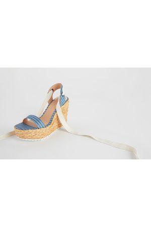 Zara Atado Natural Cuero Color Sandalia De Cuña Gamuza g7y6bf