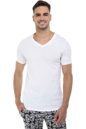 Camiseta HOM cuello V algodón blanca