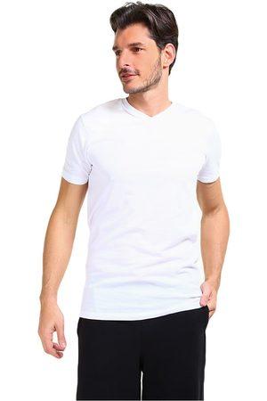 Camiseta Lacoste cuello V algodón blanca
