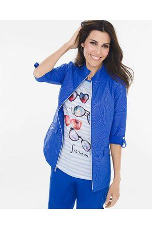 Mujer Abrigos - Chamarra con diseño gráfico Zenergy azul eléctrico