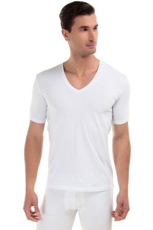 Camiseta Rounderbum cuello V algodón blanca
