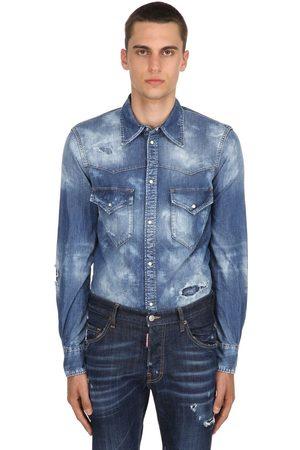 Dsquared2 Camisa Western De Denim Descolorido