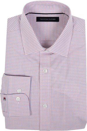 Camisa de vestir a cuadros Tommy Hilfiger corte slim fit cuello italiano rosa cl