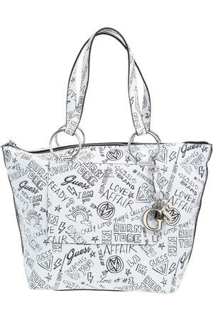 Bolsa tote con diseño gráfico Guess blanca