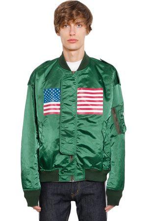 FACETASM Hombre Bomber - Chaqueta Bomber De Sarén Con Estampado Bandera Us 5a289e77401