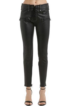 UNRAVEL Pantalones Skinny De Piel Con Cordones