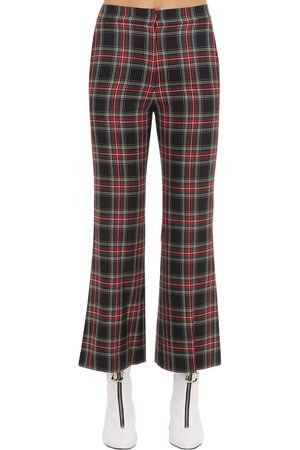 pushBUTTON Flared Check Pants