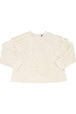 MUMMYMOON Camisa De Popelina De Algodón Con Volantes