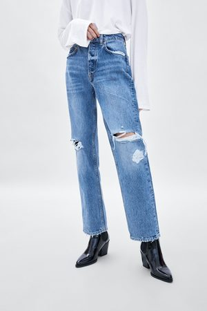 Zara JEANS MIDE RISE STRAIGHT DAMAGES