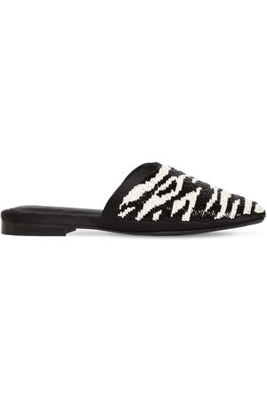 ZYNE Mujer Zuecos - 10mm Zebra Beaded Leather Mules
