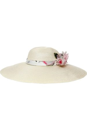 MONNALISA Wide Brim Hat W/ Flower Appliqué