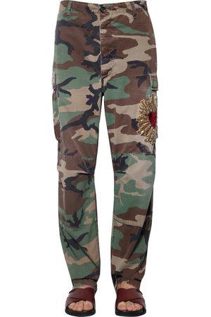 Dolce & Gabbana Pantalones Camuflaje Con Bordado De Corazón