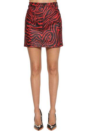 Calvin Klein Falda De Denim De Algodón Con Estampado Cebra