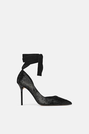 Negros Zapatos Zara Tacón Bordados Con K1J3TlFc