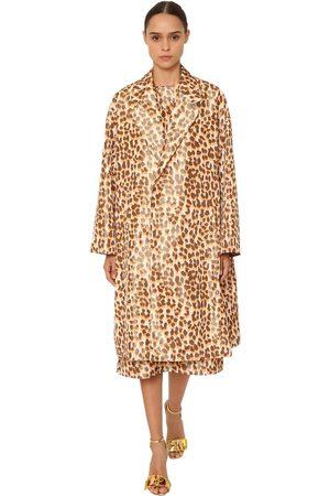 Rochas Mujer Abrigos - Leopard Print Silk Taffeta Coat