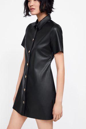 Zara Vestido efecto piel botones