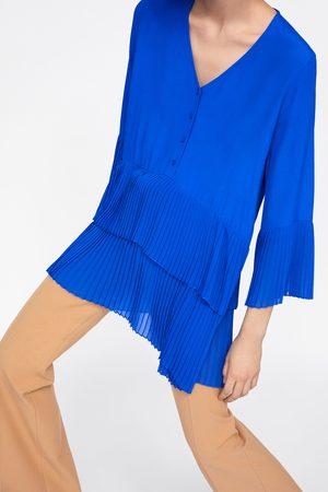 Zara Mujer Blusas - Blusa plisado combinado