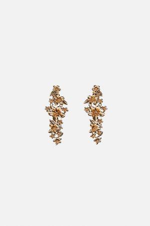 Zara Pendientes flores metálicas
