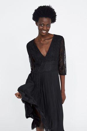 Zara Mujer De encaje - Vestido plisado combinado encaje