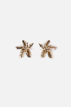 Zara Mujer Aretes - Pendientes flor metálica