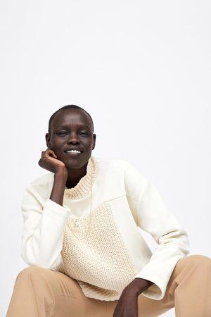 Zara Mujer Sudaderas - Sudadera combinada tricot