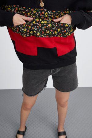 Zara Mujer Sudaderas - Sudadera bolsillos flores