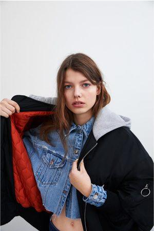 Zara Mujer Abrigos - Bomber capucha combinada