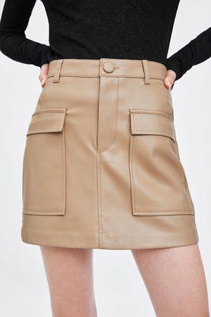 Zara Mujer Minifaldas - Falda mini efecto piel