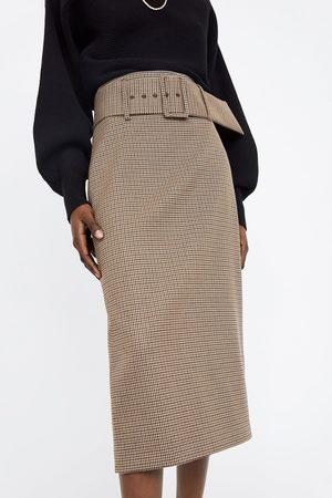 Zara Mujer Estampadas - Falda tubo cuadros