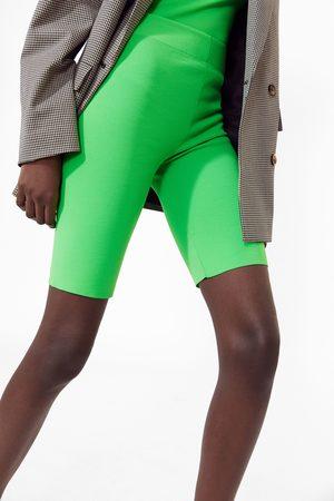Zara Mujer Pantalones y Leggings - Bermuda ciclista flúor