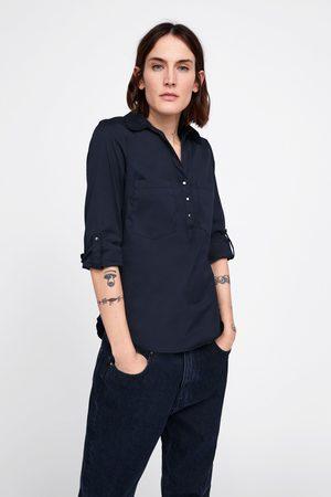 Zara Mujer Camisas - Camisa básica bolsillos