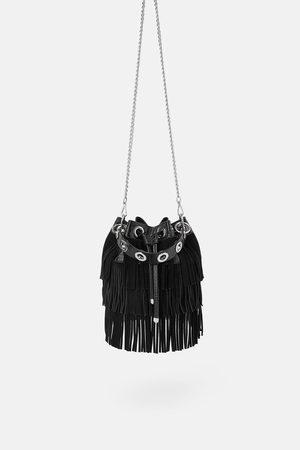 Zara Mujer Bolsas - Bolso saco flecos estampado animal